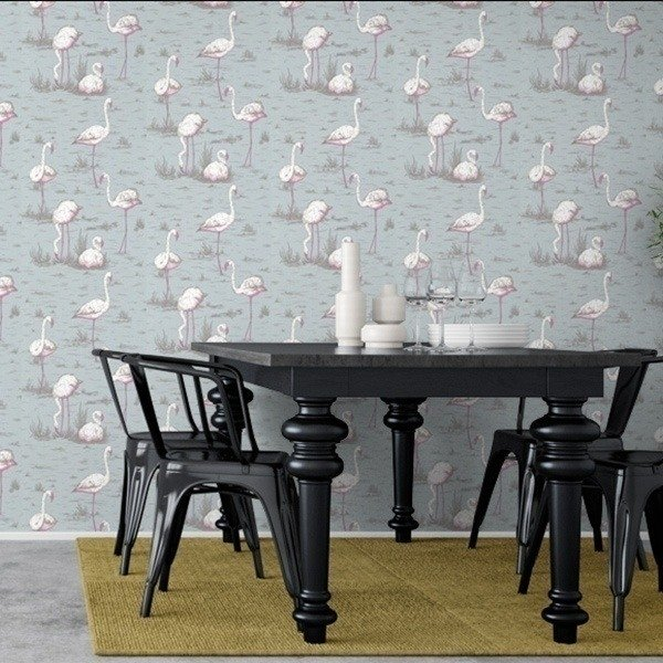 papier peint flamingos cole and son. Black Bedroom Furniture Sets. Home Design Ideas