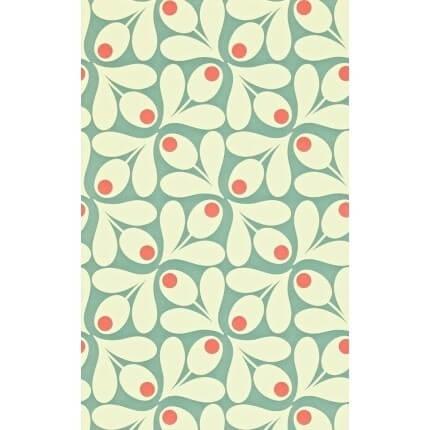 Papier peint Acorn Spot Orla Kiely Sea Blue/Poppy 110417 Orla Kiely