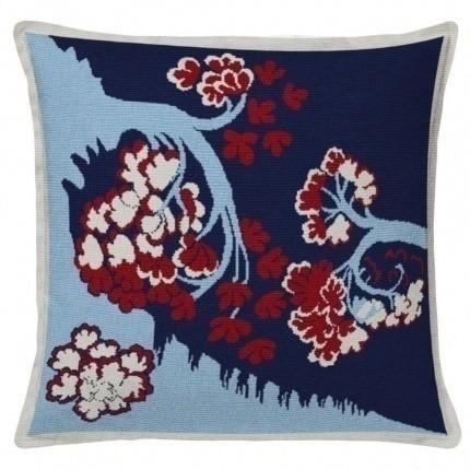 Coussin Bayeux Aubusson Création Bleu/Rouge Coussin Bayeux Aubusson Création