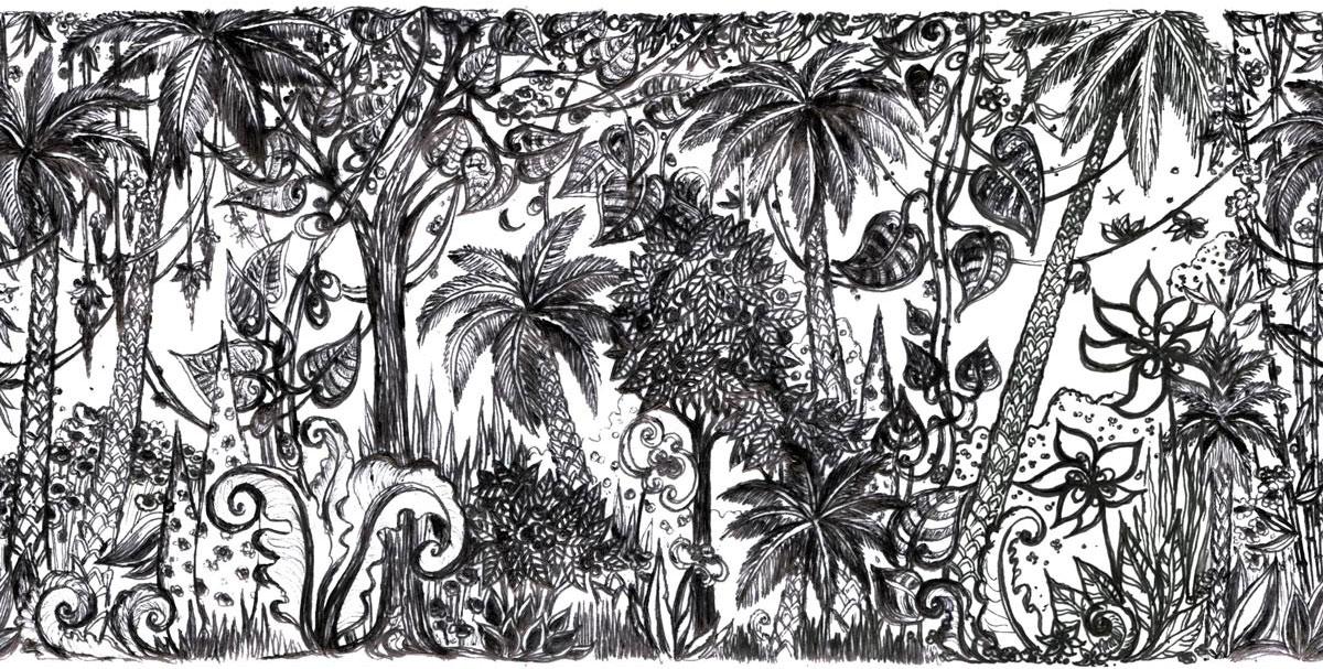 tapisserie jungle noir blanc les ateliers d 39 aubusson. Black Bedroom Furniture Sets. Home Design Ideas