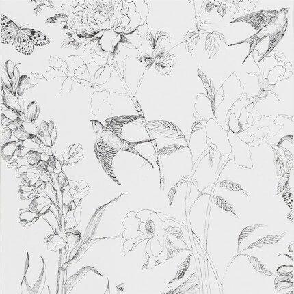 Papier peint Sibylla Garden Designers Guild Black and White PDG721/01 Designers Guild
