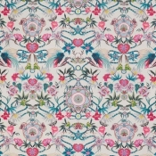 Tissu Menagerie Cerise/Teal Matthew Williamson