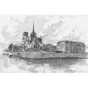 Panneau Notre Dame de Paris Noir/Blanc Texam Home