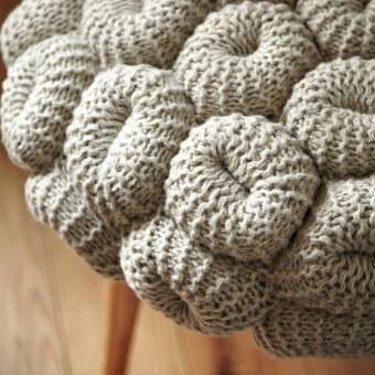 Knitted Grey Stool Grey Gan Rugs