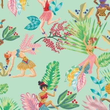 Papier peint Calypso Dancers Hueso Coordonné