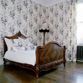 London Rose Wallpaper Smoke Grey House of Hackney