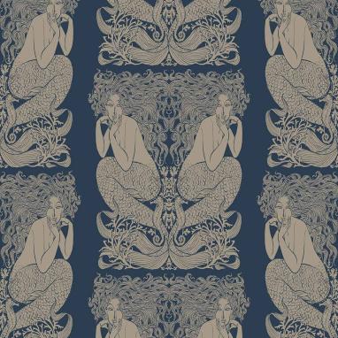 Papier Peint Mermaid Prusse/Or Hookedonwalls