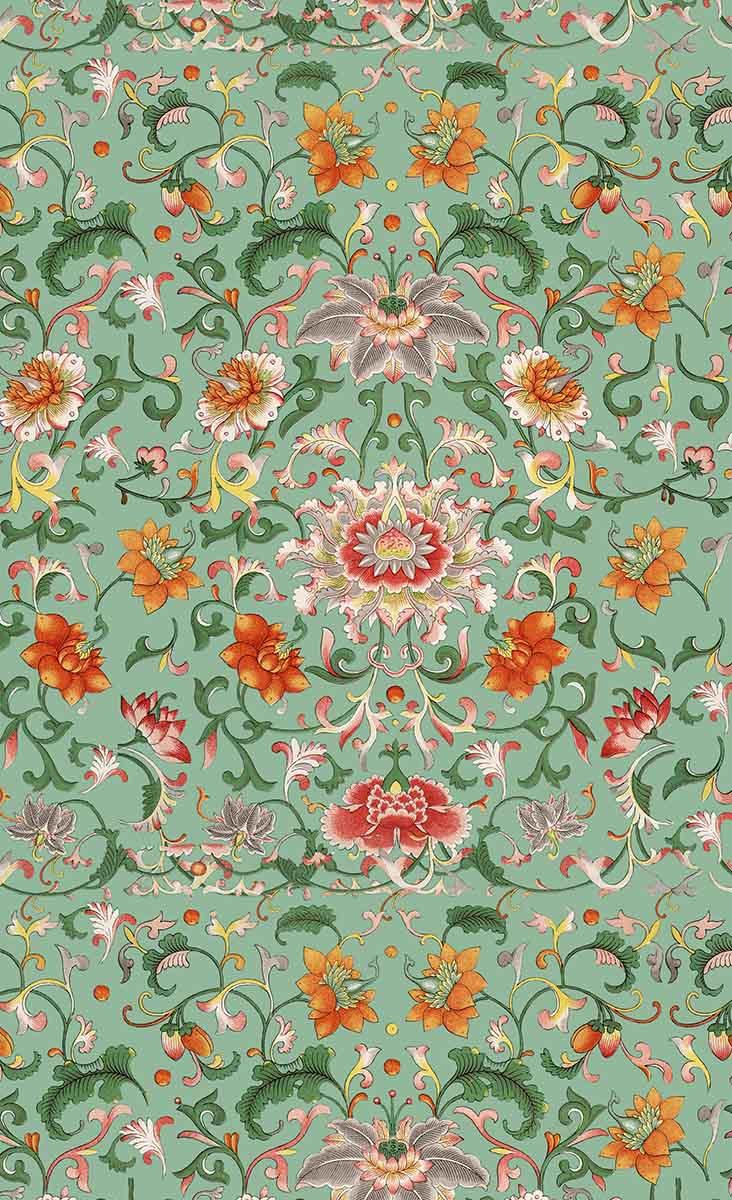 papier peint chinese floral mindthegap. Black Bedroom Furniture Sets. Home Design Ideas