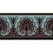 Bordure Palmette Bleu Aqua/Brun Chocolat Edmond Petit