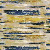 Tissu Courtoisie Bleu/Jaune/Or Casamance