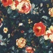 Tissu Galante Orange/Marine Casamance