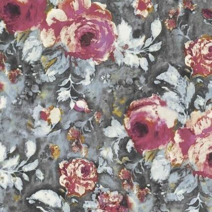Tissu Galante Casamance Rose Sorbet/Gris Fusain 38180101 Casamance