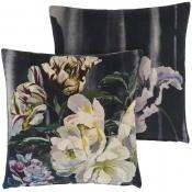 Coussin Delft Flower Velours Noir Designers Guild