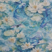 Papier peint Water Lily Azure Blue Matthew Williamson