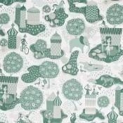 Tissu Jardin de la vie White/Blue Littlephant