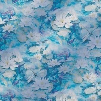 Tissu Water Lily Sheer Sheer azure  Matthew Williamson
