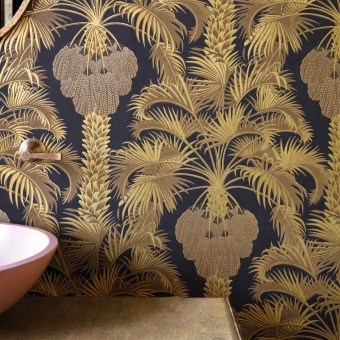 Hollywood Palm Wallpaper Charcoal/Gold Cole and Son