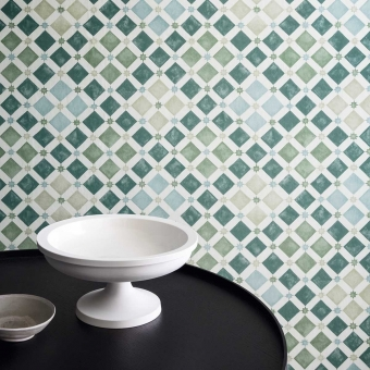 Zellige Wallpaper China blue/White Cole and Son