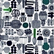 Tissu enduit Puutarhurin Parhaat Light Grey/Green/Black Marimekko