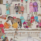 Papier peint Hazara Turquoise Manuel Canovas