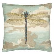 Coussin Dragonfly Over Clouds Sky Blue Bleu John Derian