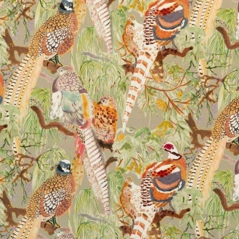 Velours Game Birds Fig/Multi Mulberry