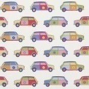 Papier peint Pop Cars Blue/Green Jane Churchill
