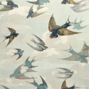 Papier Peint Chimney Swallows Sky Blue John Derian