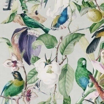 Tropical Birds Panel Green/White/Blue Mindthegap
