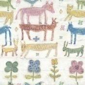 Papier peint Stacked Animals White/Red/Blue Mindthegap