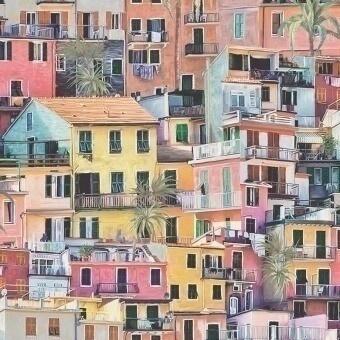 Papier peint Portovenere Terracotta/Coral/Aqua Osborne and Little