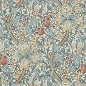 Papier peint Golden Lily Green/Red Morris and Co