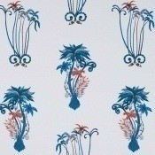 Papier peint Jungle Palms Blue Clarke and Clarke