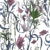 Papier peint Jardin Marin Bleu/Jaune Edmond Petit