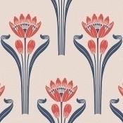 Papier peint Tulipes Blanc/Rouge Isidore Leroy