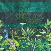 Panneau Arjuna Leaf With Peacock Viridian Multicolore Designers Guild