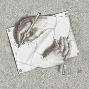 Panneau Drawing Hands Black M.C. Escher