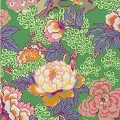 Papier peint Honshu Coral/Green Thibaut