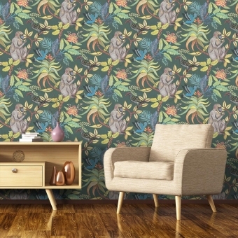 Savuti Wallpaper Beige/Vert Cole and Son