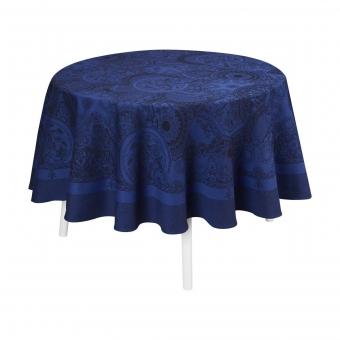 Porcelaine Round Tablecloth Ø210 Bleu de Chine Le Jacquard Français