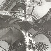Panneau Up and Down Dark M.C. Escher