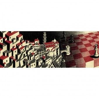 Bordure Metamorphosis II Red M.C. Escher