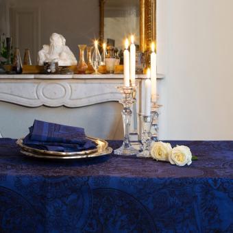 Porcelaine Tablecloth 175x250 Bleu de Chine Le Jacquard Français