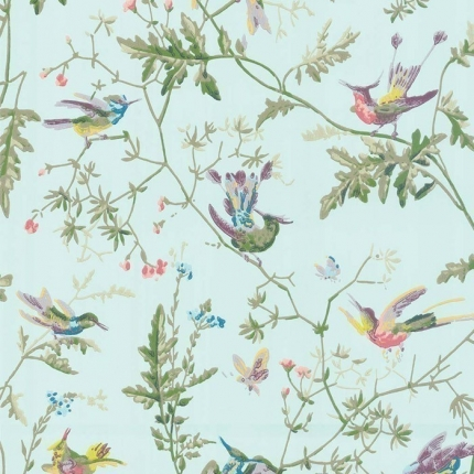 Papier peint Hummingbirds Cole and Son Turquoise 100/14069 Cole and Son