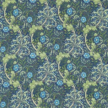 Tissu Morris Seaweed Morris and Co Cobalt/Thyme DM3P224472 Morris and Co