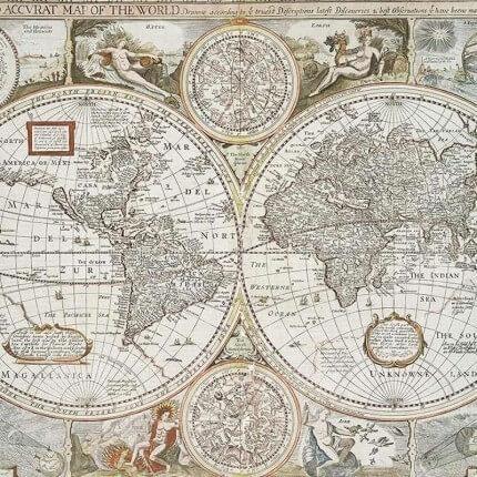 Panneau Historical Map Coordonné Multi-coloured 6500101N Coordonné