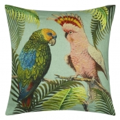 Coussin Parrot And Palm Azure John Derian