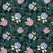 Tissu Les Rosales  Bleu Paon Christian Lacroix
