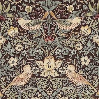 Strawberry Thief Fabric Chocolate/Slate Morris and Co