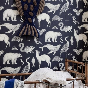 Animals Wallpaper Dark blue Ferm Living